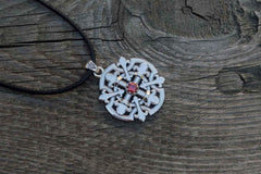 Flower Style Pendant with Cubic Zirconia Sterling Silver Handmade Unique Jewelry