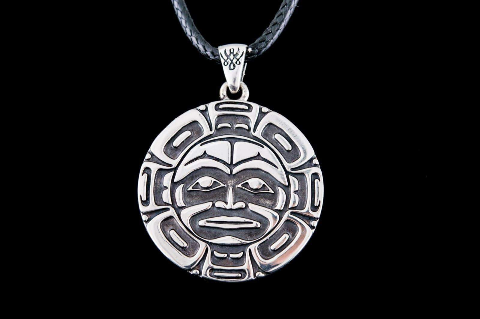Aztec Symbol Pendant Sterling Silver Handmade Jewelry