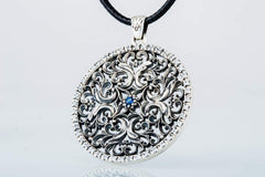 Ancient Smithy VW jewelry Flower Ornament Pendant with Cubic Zirconia Sterling Silver Jewelry