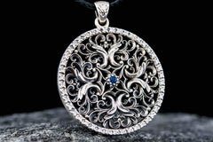 Flower Ornament Pendant with Cubic Zirconia Sterling Silver Jewelry