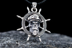 Skull Pendant with Handweel Symbol Sterling Silver Jewelry