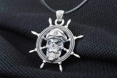 Ancient Smithy VW jewelry Skull Pendant with Handweel Symbol Sterling Silver Jewelry