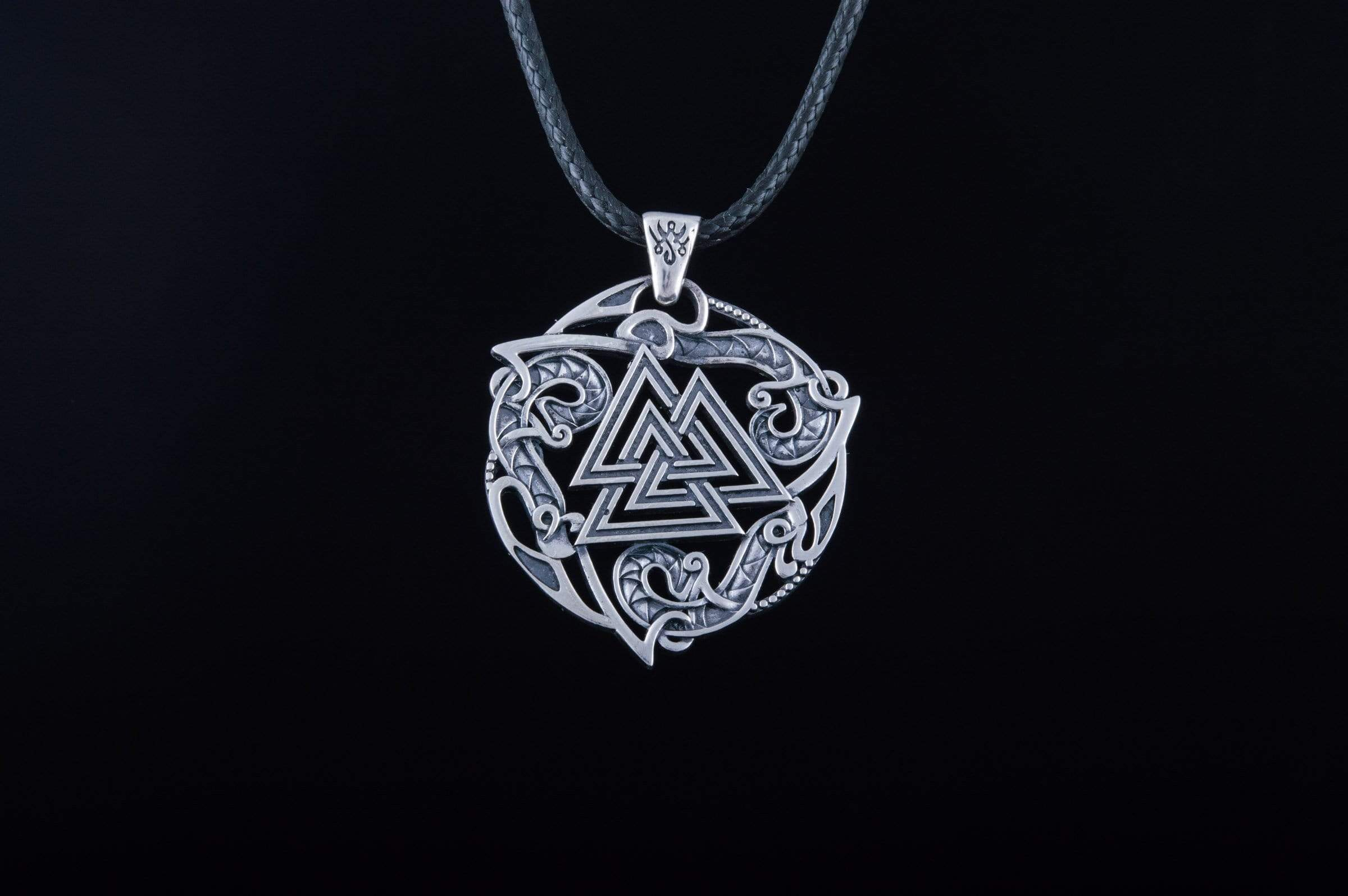 Ancient Smithy VW jewelry Valknut Symbol Pendant with Ornament Sterling Silver Norse Jewelry