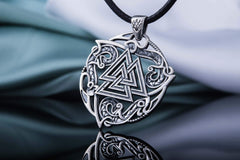 Valknut Symbol Pendant with Ornament Sterling Silver Norse Jewelry