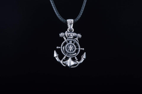 Ancient Smithy VW jewelry Anchor Symbol with Compass Pendant Sterling Silver Handcrafted Jewelry CS163