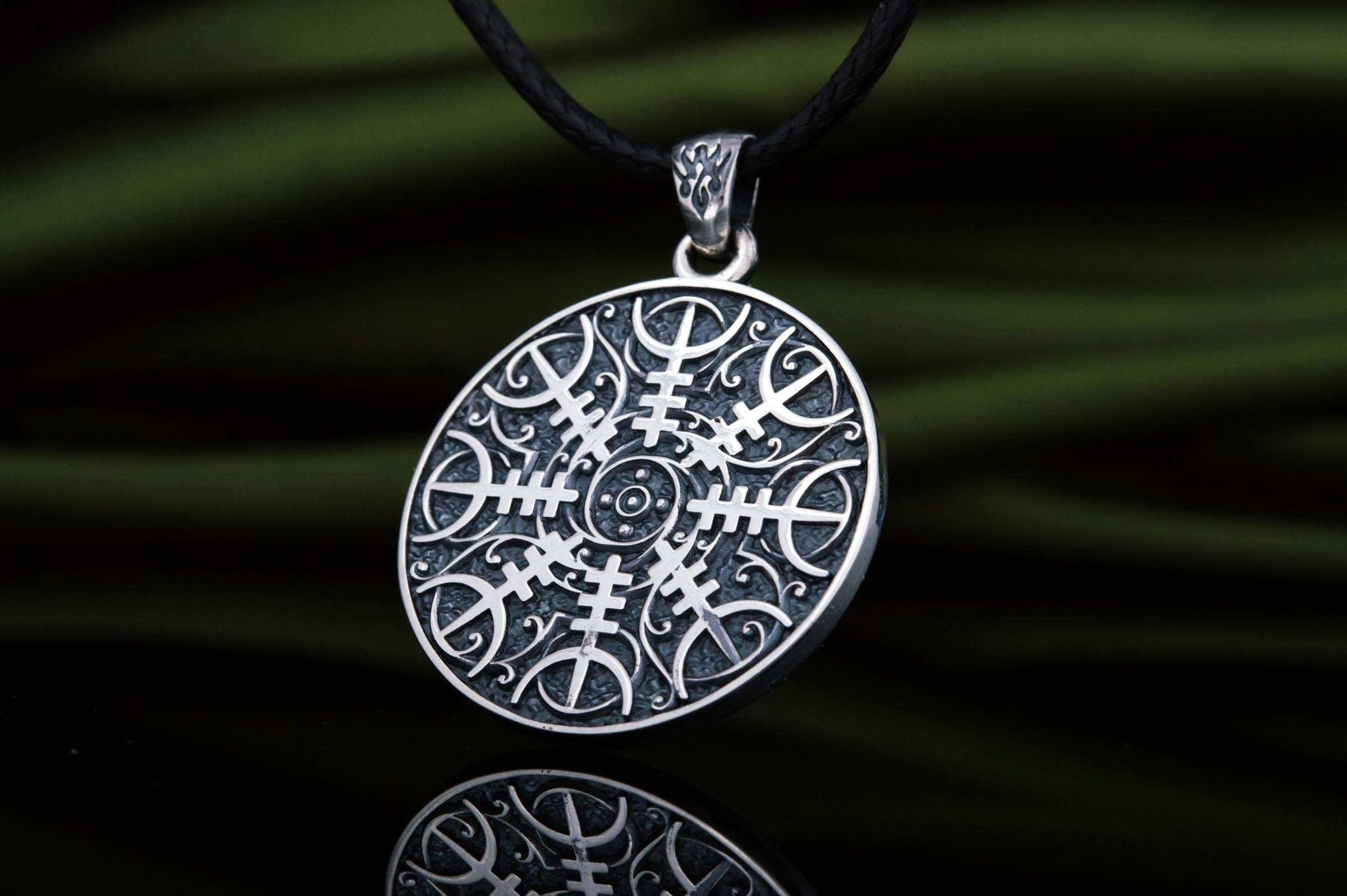 Ancient Smithy VW jewelry Viking Pendant with Halm of Awe Symbol Sterling Silver Norse Jewelry