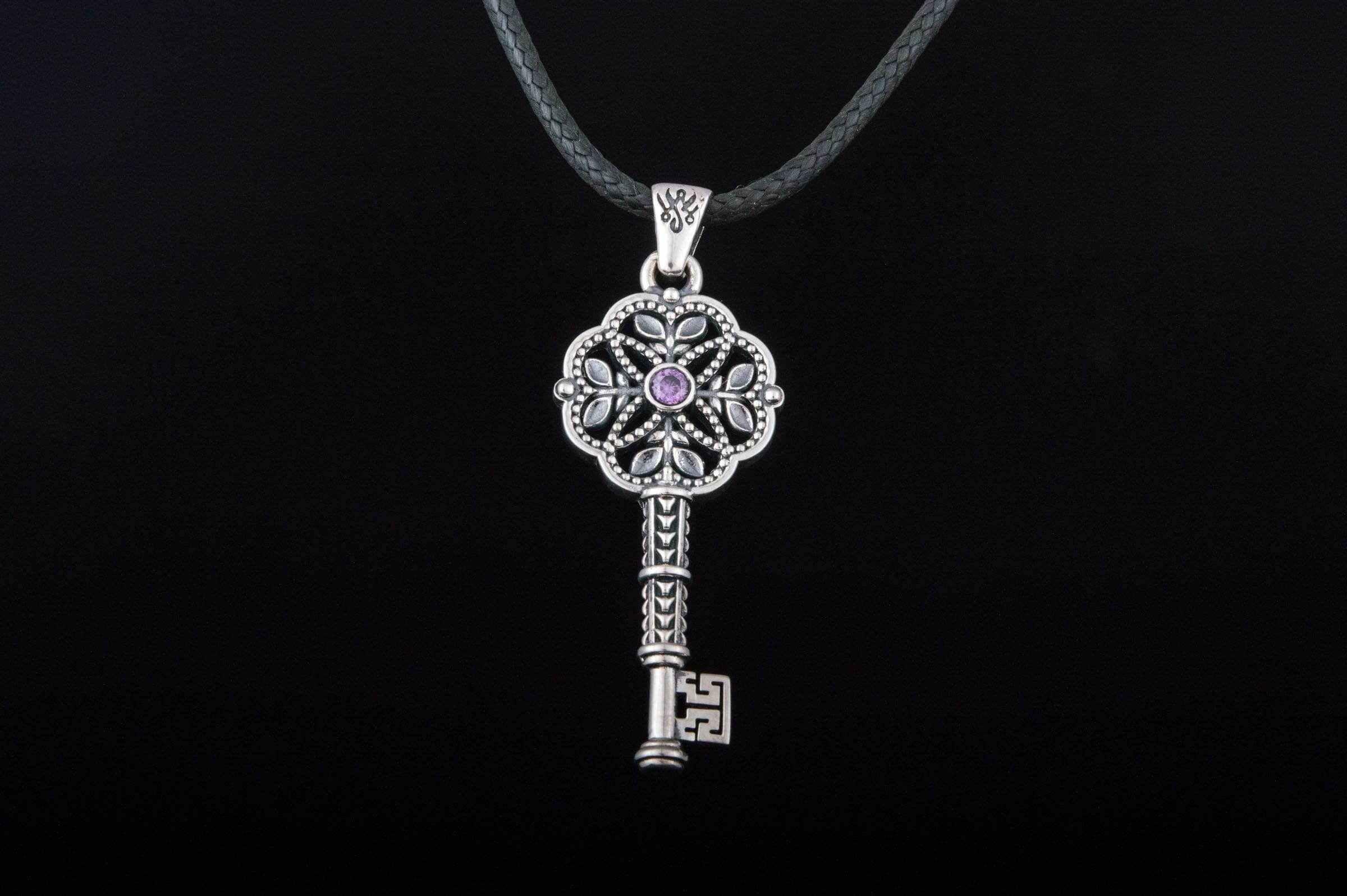 Ancient Smithy VW jewelry Fashion Key Pendant with Cubic Zirconia Sterling Silver Jewelry
