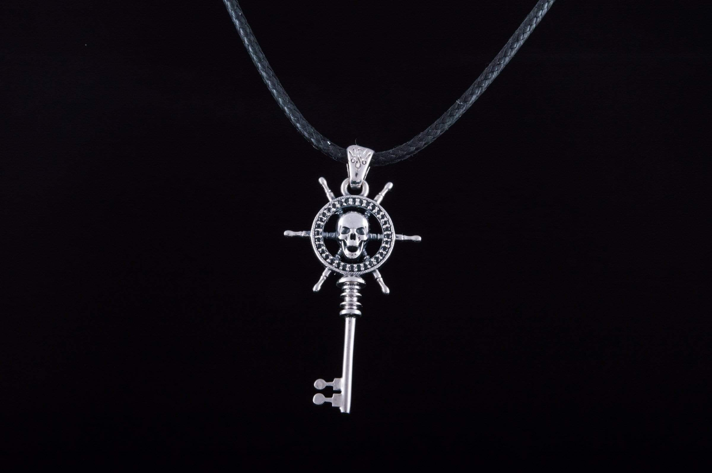 Key with Skull Pendant Sterling Silver Jewelry