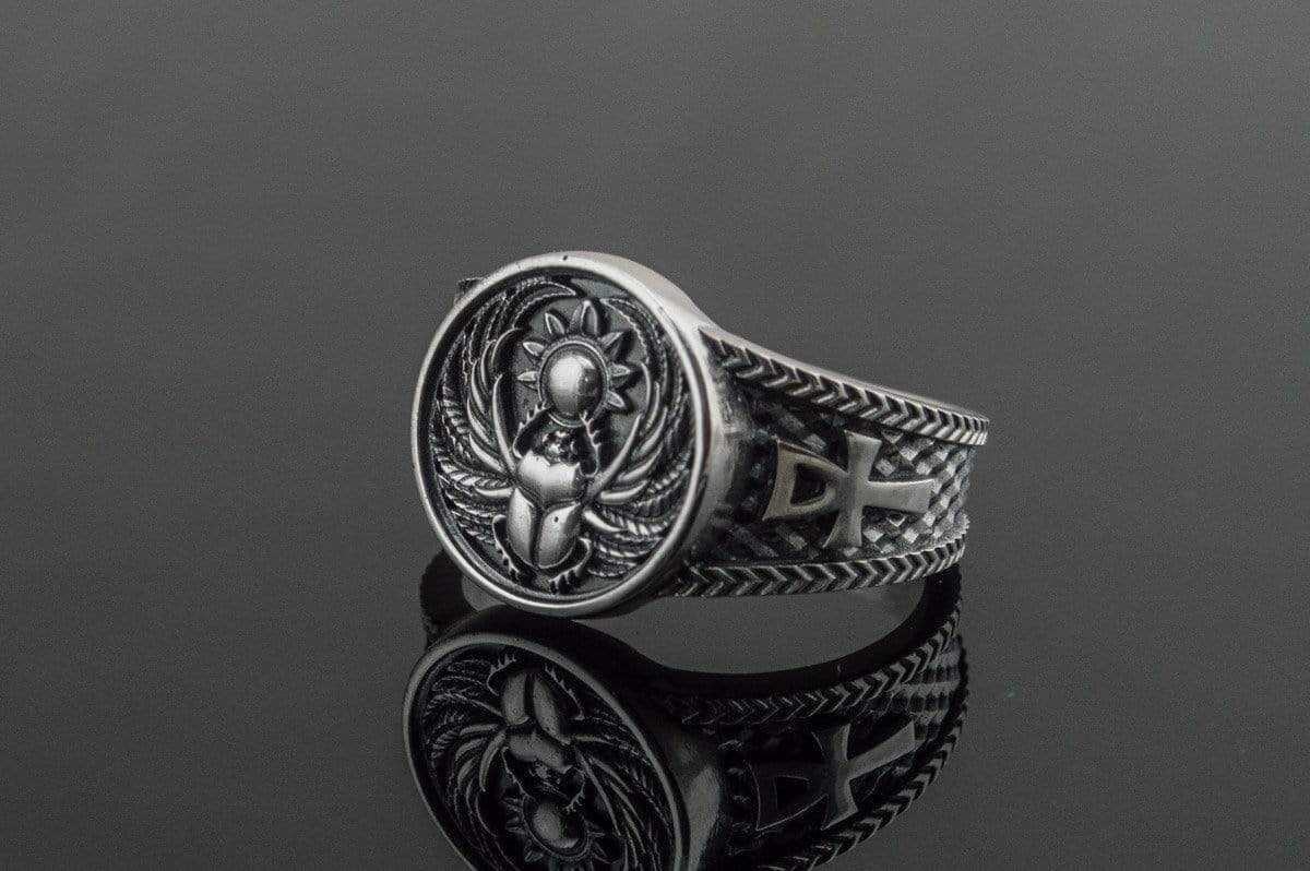 Ancient Smithy VW jewelry Ring With Scarabeus Symbol Sterling Silver Egypt Jewelry