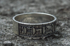 Egypt Symbols Handcrafted Ring Sterling Silver Jewelry