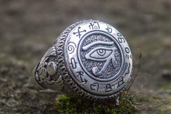 Ancient Smithy VW jewelry Ring with Uajet and Scarabeus Symbol Sterling Silver Egypt Jewelry