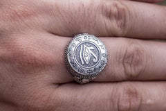 Ring with Uajet and Scarabeus Symbol Sterling Silver Egypt Jewelry