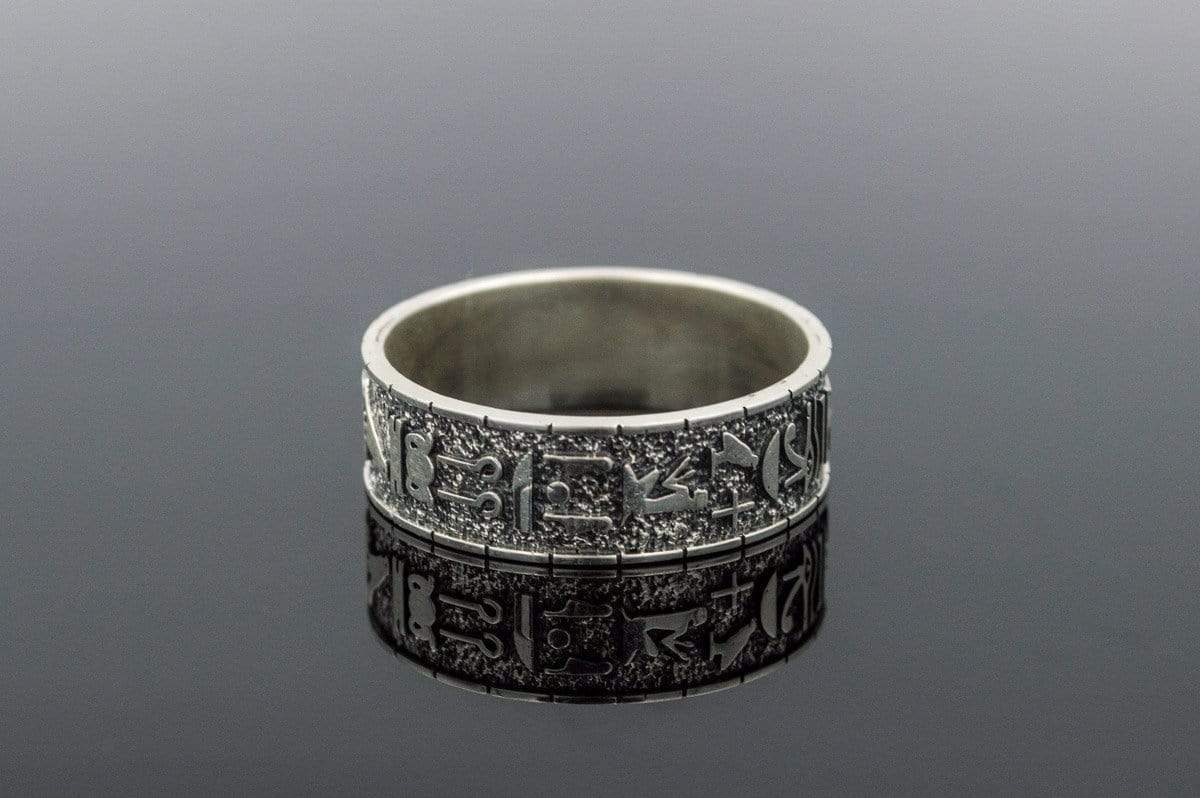 Ring with Egypt Symbols Ornament Sterling Silver Handmade Jewelry