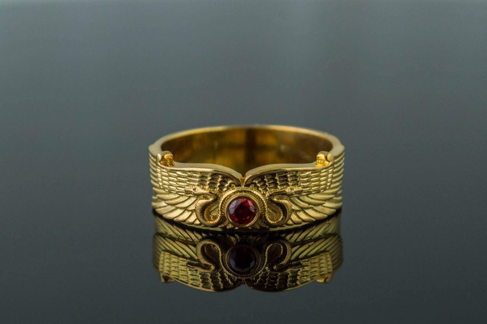 Ancient Smithy VW jewelry Egypt Ring with Snake Symbol and Cubic Zirconia Gold Unique Jewelry