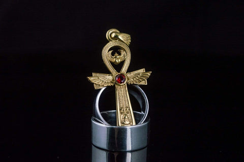Ancient Smithy VW jewelry Ankh Symbol Pendant with Cubic Zirconia Gold Egypt Jewelry