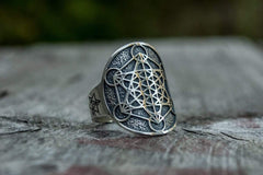 Ancient Smithy VW jewelry Metatron Cube Symbol Sterling Silver Unique Ring