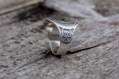 Unique Ring with Geometry Symbol Sterling Silver Jewelry
