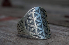 Ancient Smithy VW jewelry Flower of Life Symbol Ring Sterling Silver Unique Jewelry