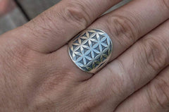 Flower of Life Symbol Ring Sterling Silver Unique Jewelry