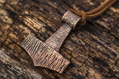 Ancient Smithy VW jewelry Thor's Hammer Pendant Bronze Mjolnir Wooden Style