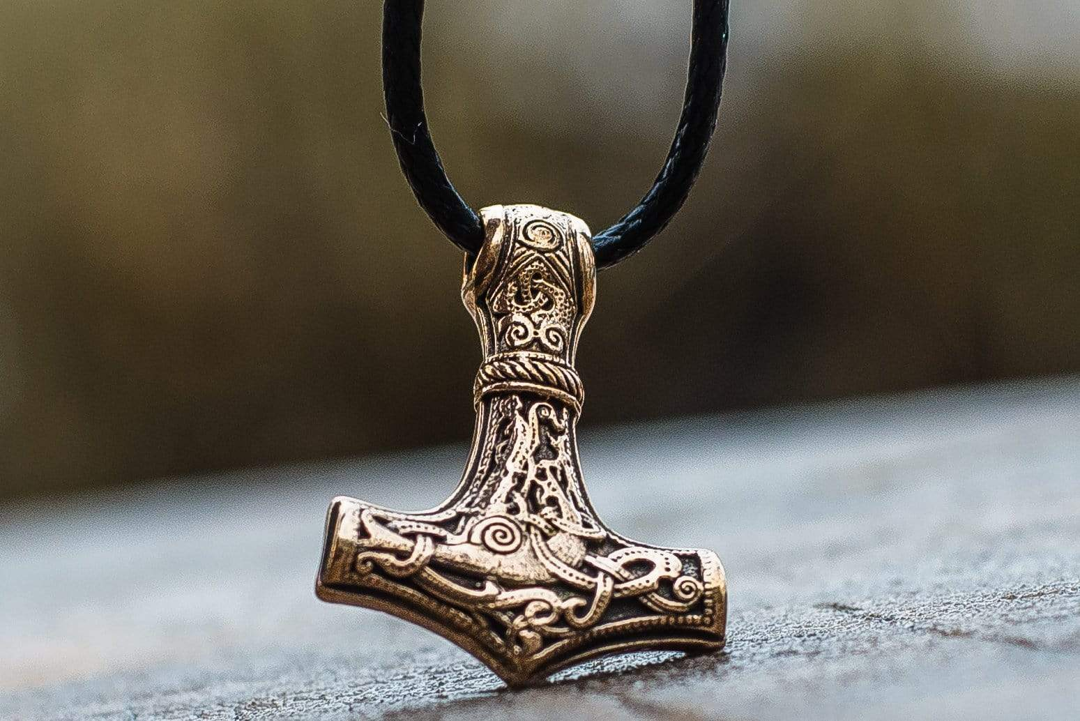 Ancient Smithy VW jewelry Thor's Hammer Pendant Bronze Mjolnir from Mammen Village