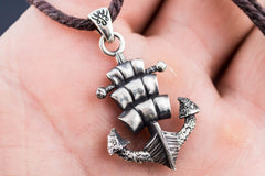 Anchor Symbol with Drakkar Style Pendant Sterling Silver Handmade Jewelry