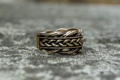 Unique Ring with Viking Ornament Scandinavian Bronze Jewelry