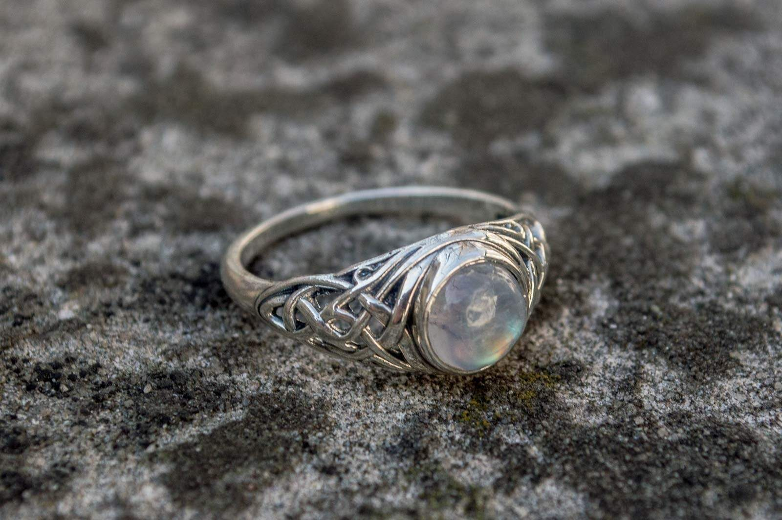 Ring with White Opal Sterling Silver Unique Handmade Jewelry