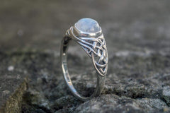 Ancient Smithy VW jewelry Ring with White Opal Sterling Silver Unique Handmade Jewelry