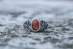 Ancient Smithy VW jewelry Fashion with Sunstone Ring Sterling Silver Unique Handmade Jewelry
