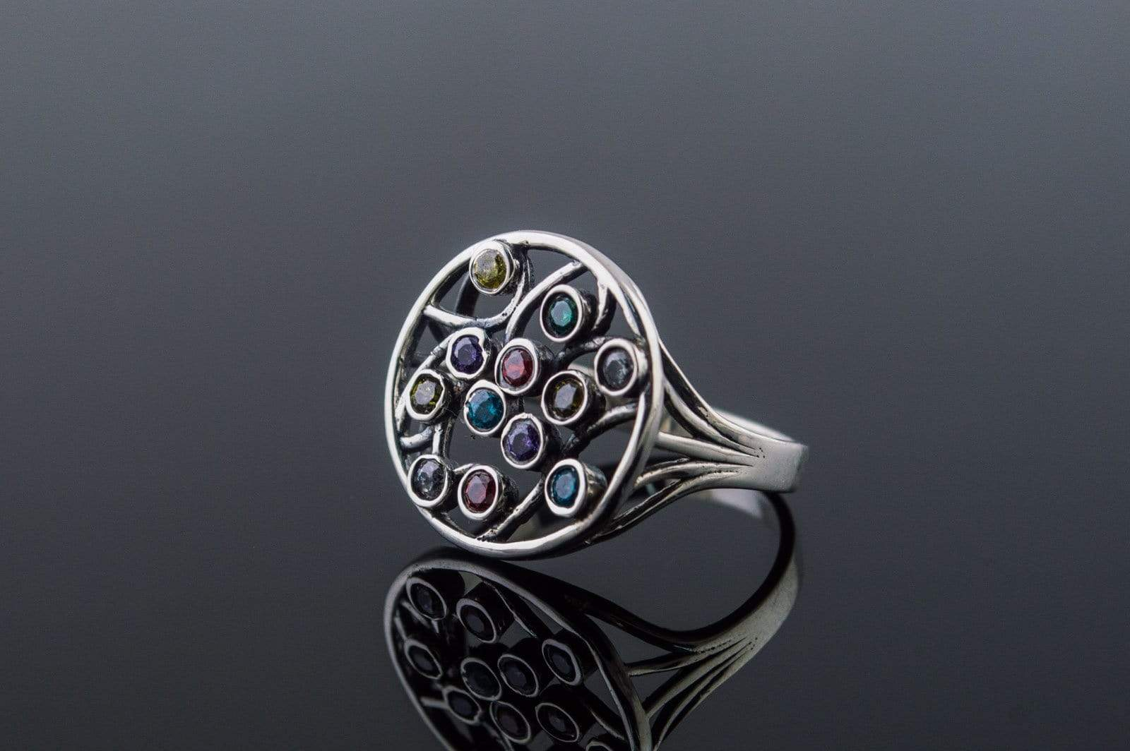 Handmade Ring with Gems Sterling Silver Ring Jewelry