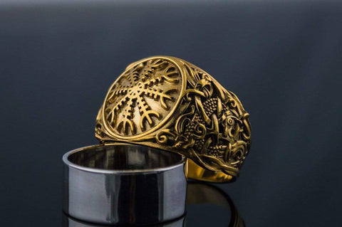 14K Gold Helm of Awe Ring with Mammen Ornament Viking Jewelry