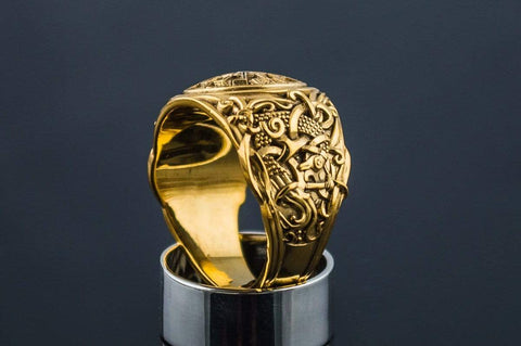 Ancient Smithy VW jewelry 14K Gold Black Sun Ring with Mammen Ornament Viking Jewelry