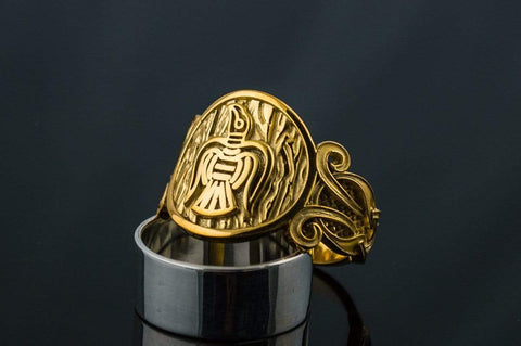 14K Gold Raven Ring with Viking Ornament Norse Jewelry