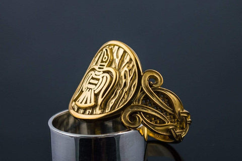 Ancient Smithy VW jewelry 14K Gold Raven Ring with Viking Ornament Norse Jewelry