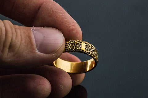 14K Gold Yggdrasil Symbol Ring Viking Jewelry
