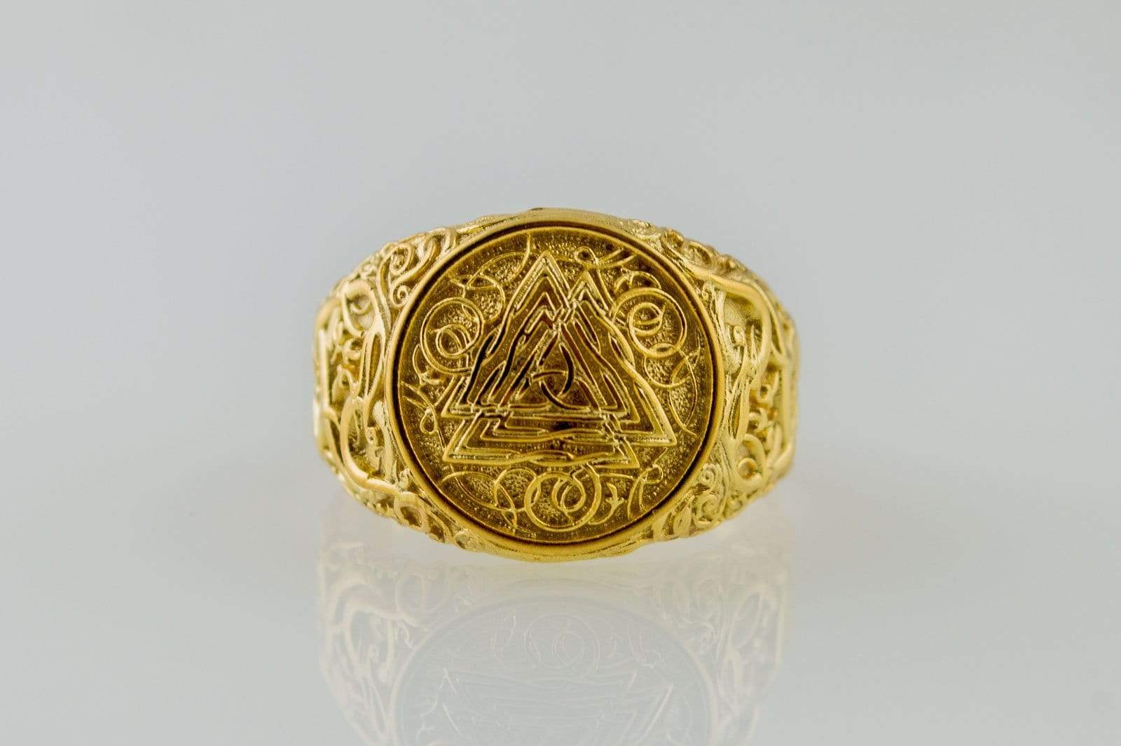 Valknut Symbol Ring with Urnes Style Gold Viking Jewelry