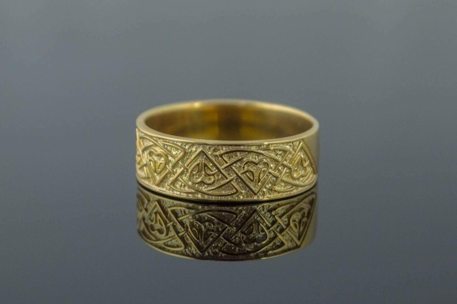 Ring with Norse Ornament Gold Viking Jewelry