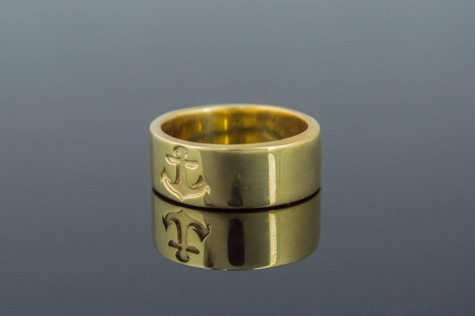Anchor Symbol Ring Gold Handmade Jewelry
