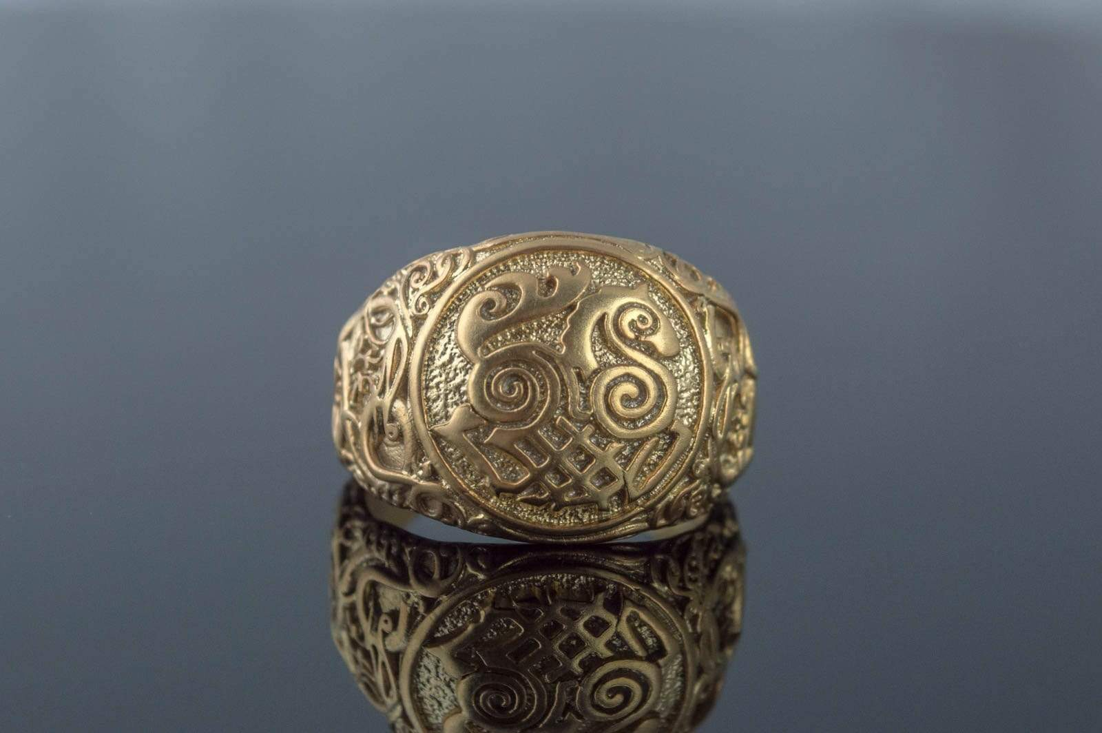 Ancient Smithy VW jewelry Sleipnir Symbol Ring with Urnes Style Gold Viking Jewelry