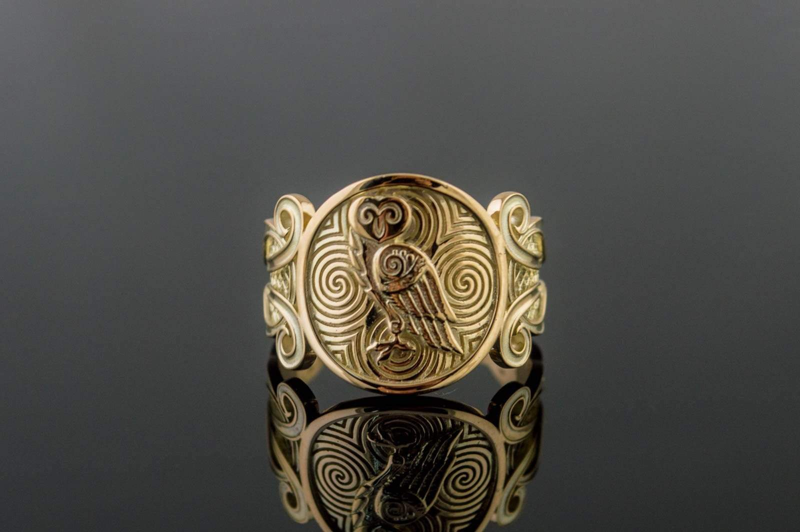 Gold Owl Symbol with Ornament Ring Unique Jewelry