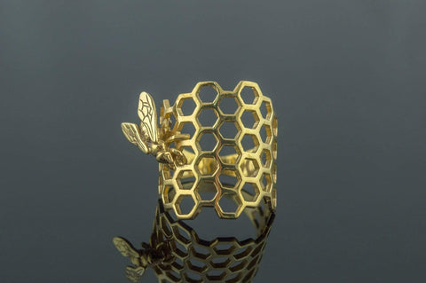 Ancient Smithy VW jewelry 14K Gold Honeycomb with Bee Ring Handmade Jewelry