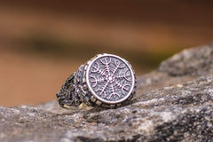 Ancient Smithy VW jewelry Aegishjalmur or Helm of Awe Symbol with Oak Leaves Sterling Silver Viking Ring