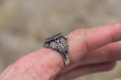 Helm of Awe Symbol with Oak Leaves and Acorns Sterling Silver Handcrafted Viking Ring