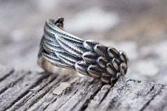 Ancient Smithy VW jewelry Raven Feathers Sterling Silver Norse Ring