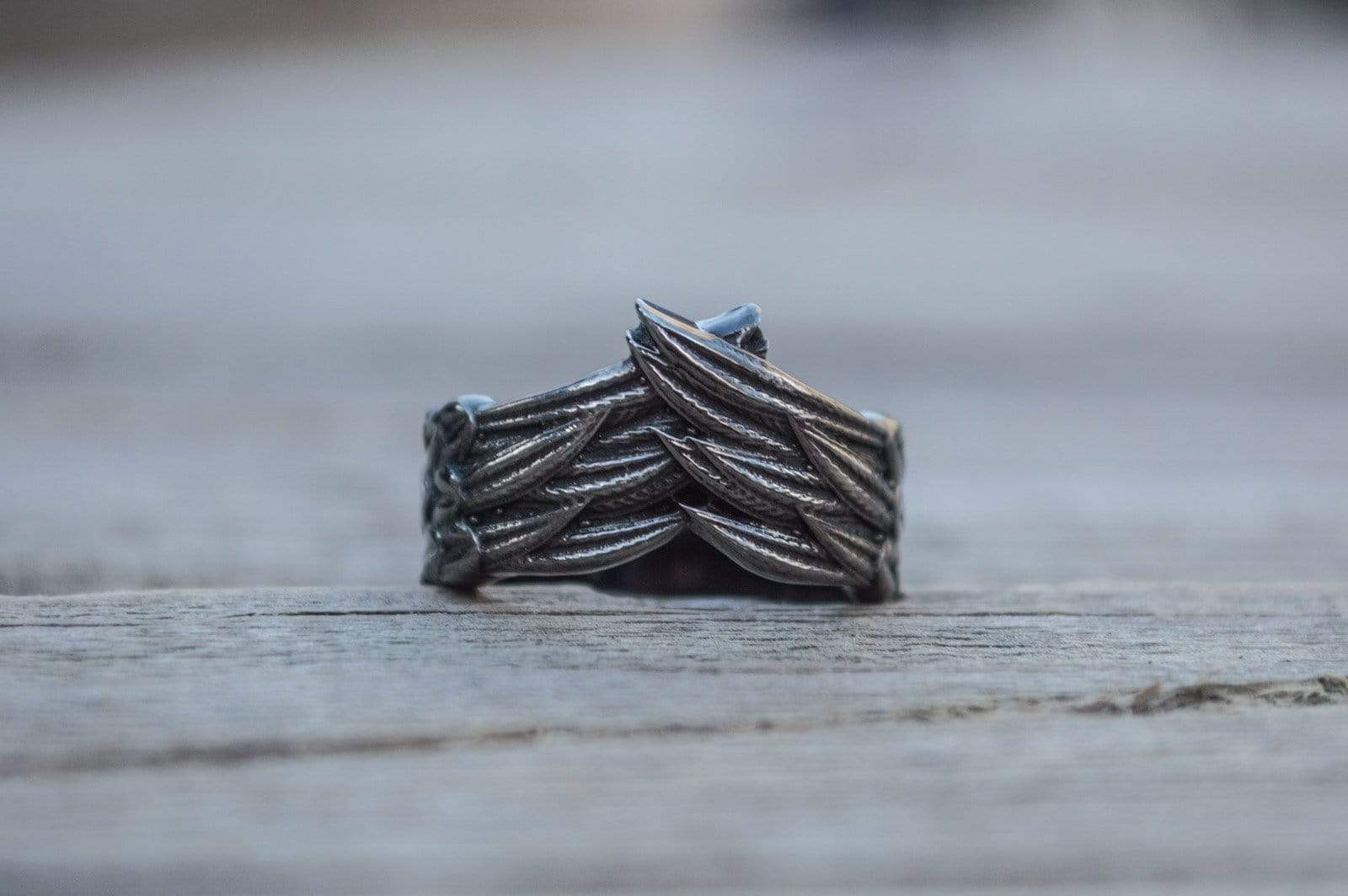 Ring with Raven Feathers Sterling Silver Ring Ruthenium Plated Handcrafted Norse Jewelry