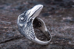 Raven Sterling Silver Viking Ring