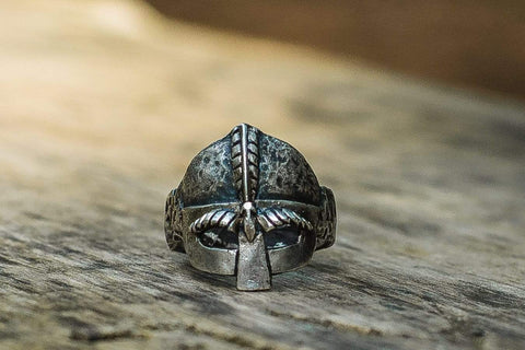 Viking Helmet Sterling Silver Unique Ring Viking Jewelry