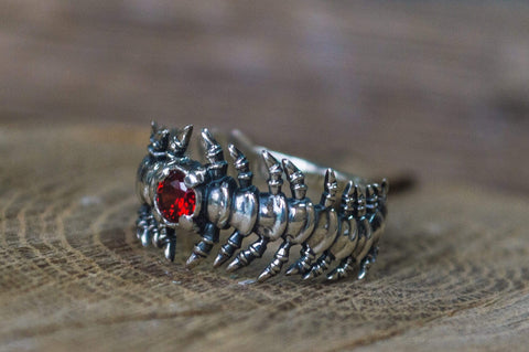 Backbone Ring with Garnet Sterling Silver Handcrafted Unique Jewelry