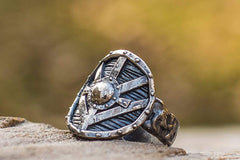 Lagertha's Shield Ring Sterling Silver Viking Jewelry